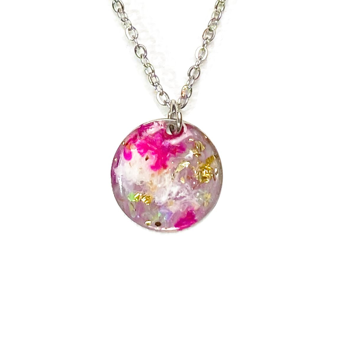 Unicorn Dreams - medium pink holographic necklace with gold flake necklace Deanna Dot Store