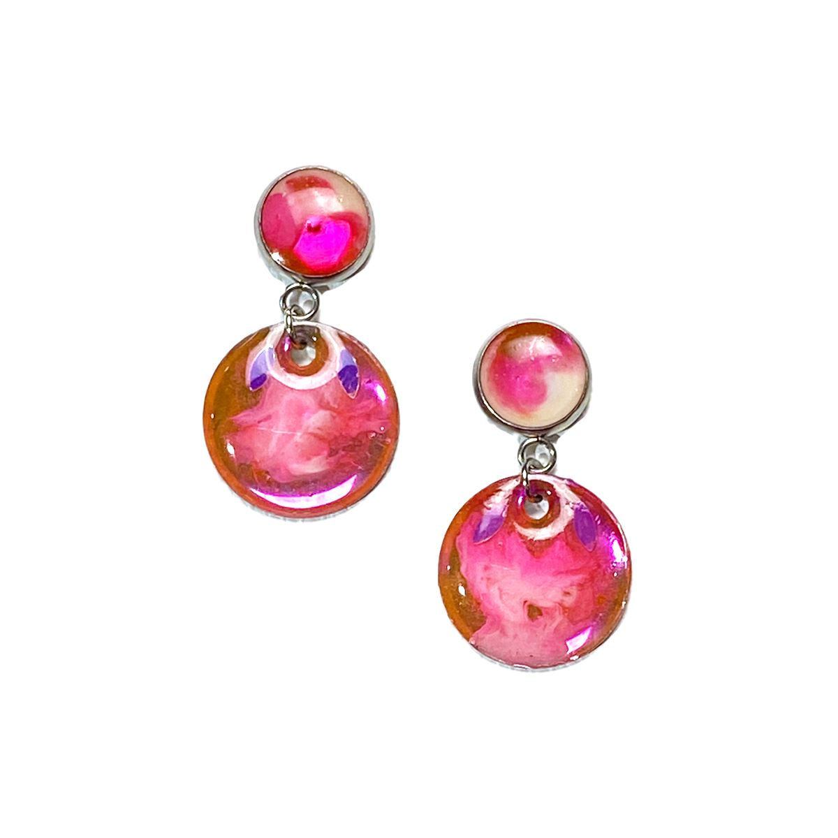 Color Study - medium pink white glitter drop stud earrings earrings Deanna Dot Store