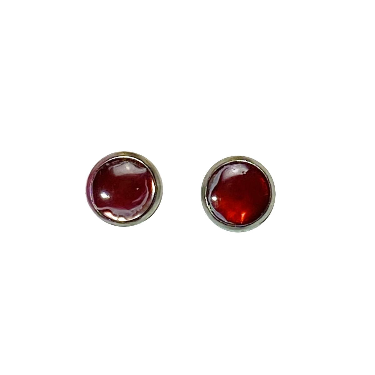 Color Study - red white 8mm stud earrings Deanna Dot Store