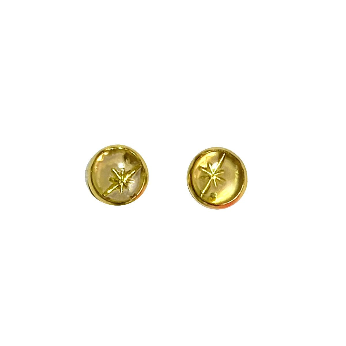 Celestial - starshine gold on gold 8mm stud earrings Deanna Dot Store