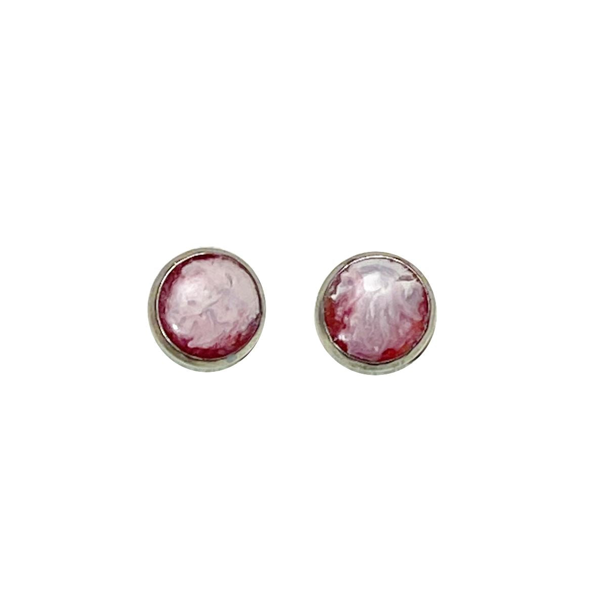Color Study- red white 8mm stud earrings Deanna Dot Store