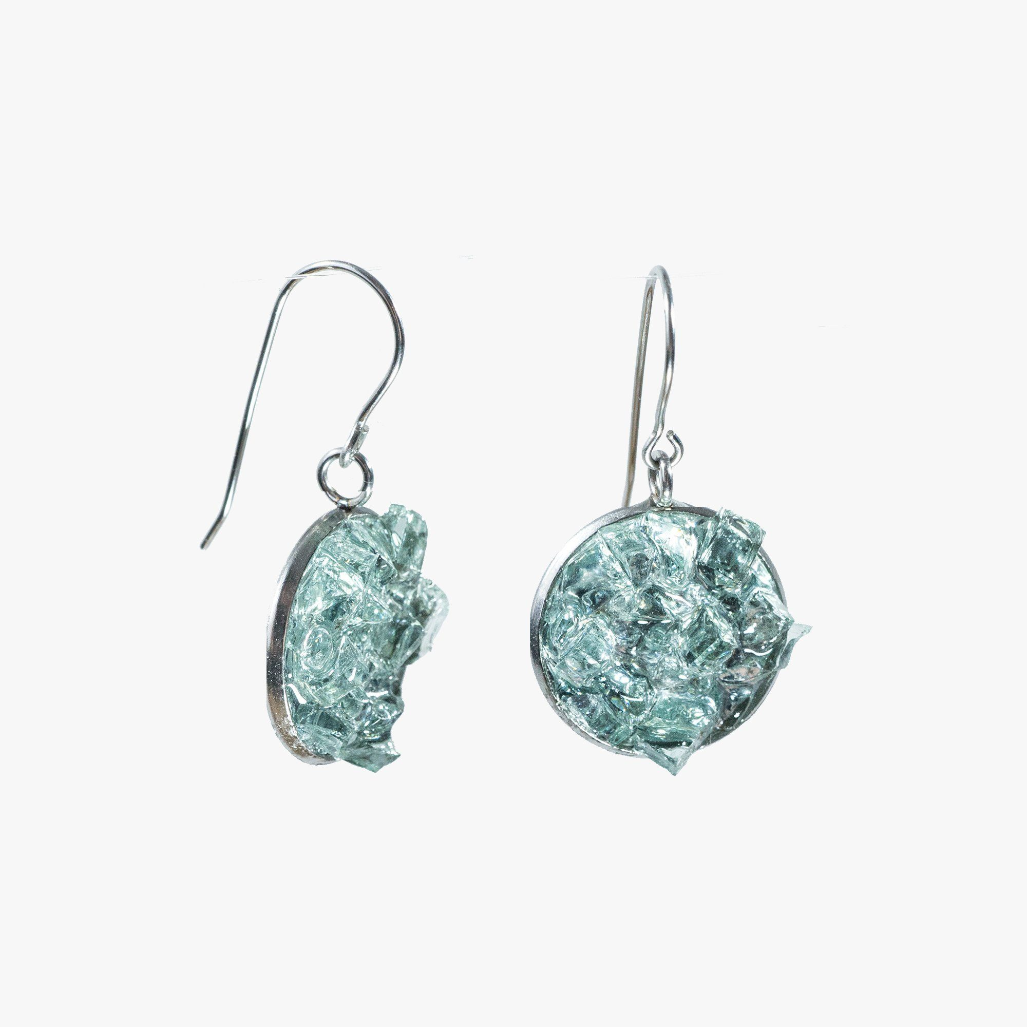 Auto Glass Earring - Medium Aqua Cluster Cleveland Street Glass