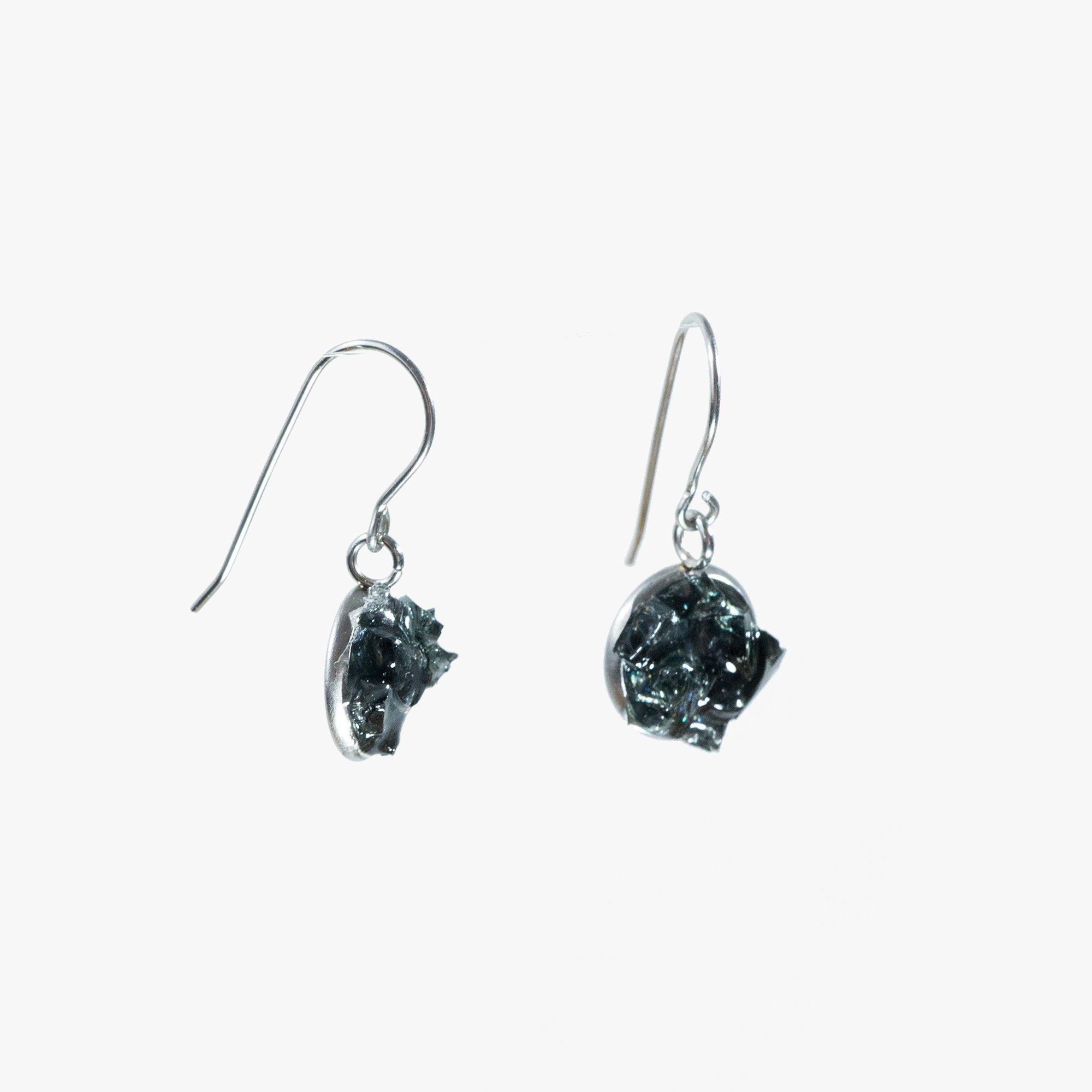 Auto Glass Earring - Cluster Dangle Small Black Cluster Cleveland Street Glass