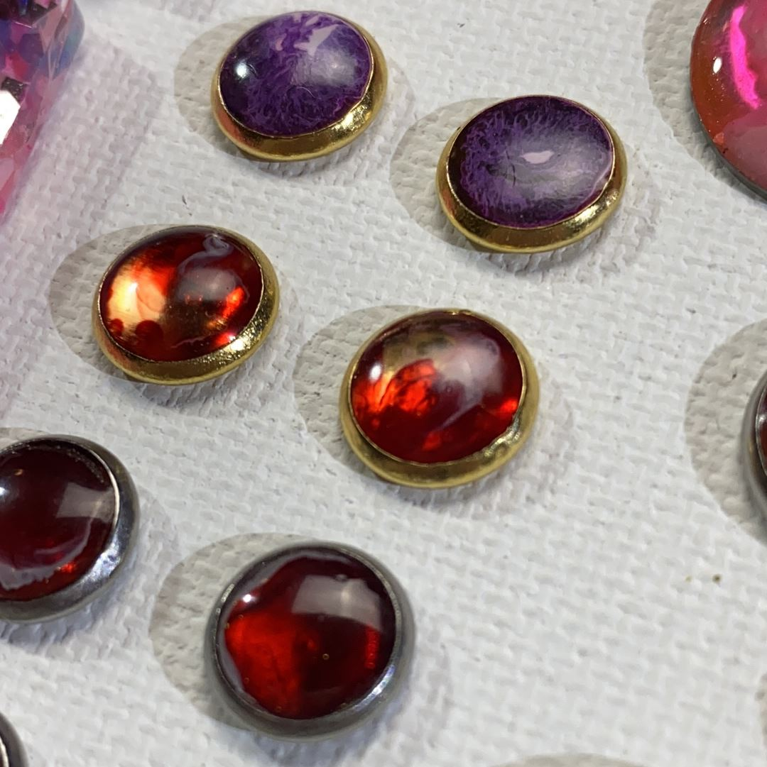 Color Study - red on gold 8mm stud earrings Deanna Dot Store