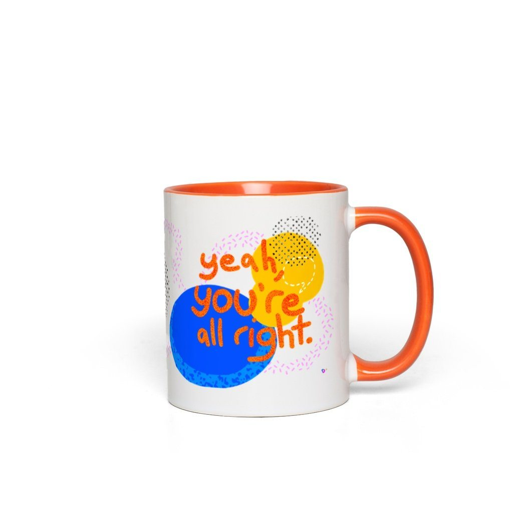 You're All Right, Mug - OTAD No. 05 Deanna Dot Store White with Orange Accents