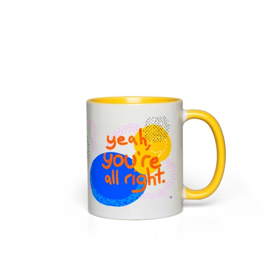 You're All Right, Mug - OTAD No. 05 Deanna Dot Store White with Yellow Accents
