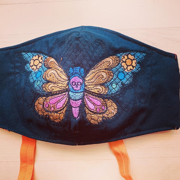 Embroidered Face Mask Morbid Butterfly