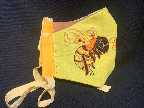 Embroidered Face Mask Bee