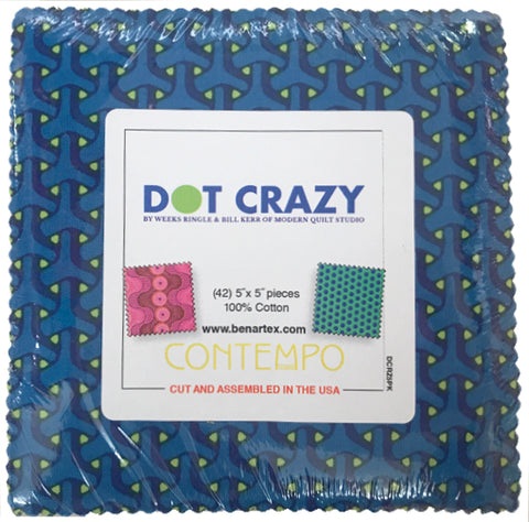 5in Squares Dot Crazy by Modern Quilt Studio 42pcs/bundle