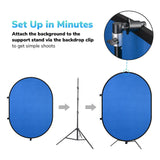 5'x7' Collapsible Chromakey Blue Green Backdrop with Stand