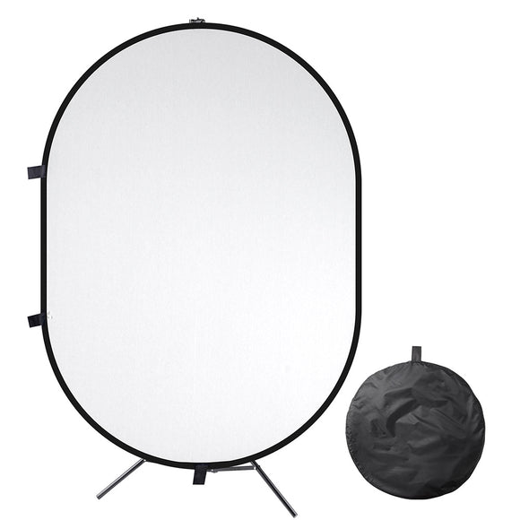 5'x7' Collapsible Chromakey Black White Backdrop with Stand
