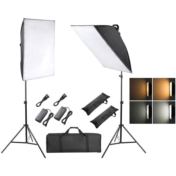 2x 45W Photography LED Softbox Lighting Kit with Tripod Stand