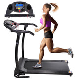 Electric Treadmill Running Machine Foldable 1100W Black/ White