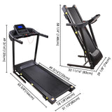 Incline Folding Treadmill Running Machine 49x18 Large Belt