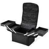 Black Soft Makeup Train Case with Shoulder Strap