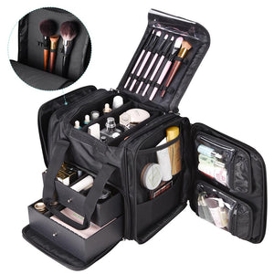 AW Makeup Case w/ Drawer Makeup Bag Organizer 14in, Black