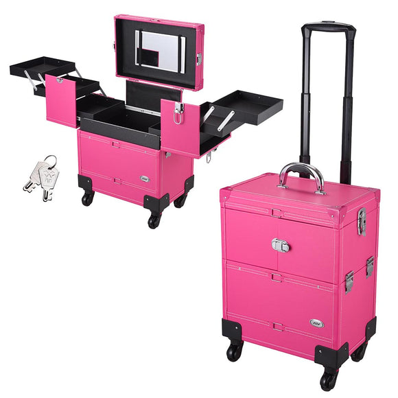 AW Pink 4-Wheel Key-locked Rolling Makeup Case with Mirror