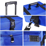 AW 2in1 Pro Rolling Cosmetic Makeup Case Nylon Fabric Blue