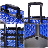 4in1 Rolling Makeup Case Lockable with 4 Wheels Blue
