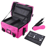 Makeup Train Case w/ Shoulder Strap & Handle Durable Nylon