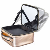 "Byootique 14"" Makeup Case w/ Mirror Brush Holder Dividers Gold"