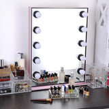 26x20 inch Tabletop Hollywood Mirror Dimmable w/ LED Bulbs Pink