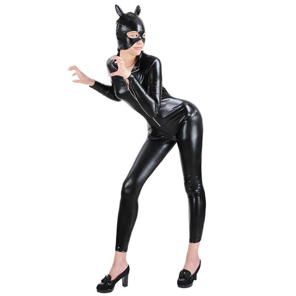 Costume Cat Woman Jumpsuit Party Catsuit w/ Mask Size Opt