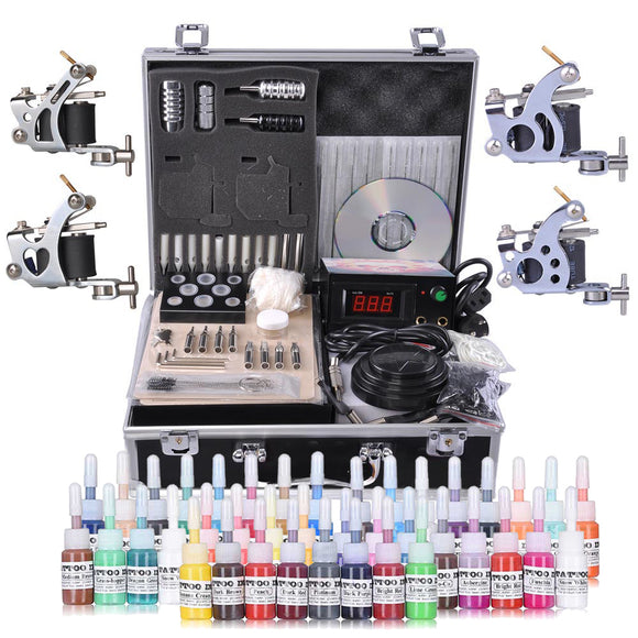 4-Gun Pro Tattoo Machine Complete Kit w/ Case 40Ink