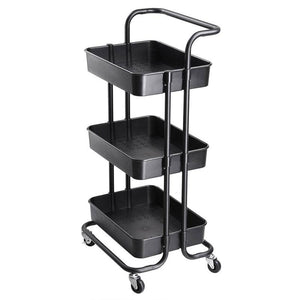 34x17x14in 3-Tier Metal Utility Cart Salon Trolley Black
