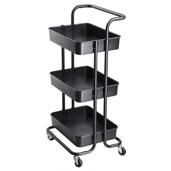 Aquaterior 34x17x14in 3-Tier Metal Utility Cart Salon Trolley Black