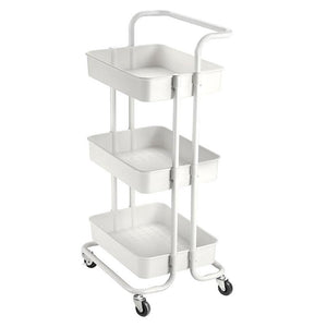 34x17x14in 3-Tier Metal Utility Cart Salon Trolley White