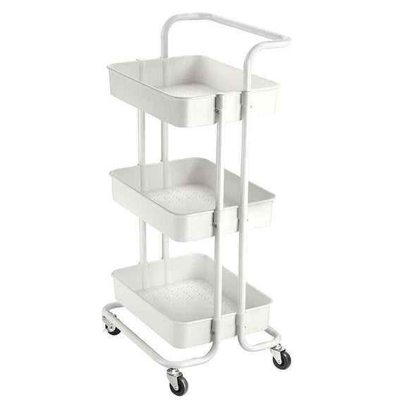 Aquaterior 34x17x14in 3-Tier Metal Utility Cart Salon Trolley White