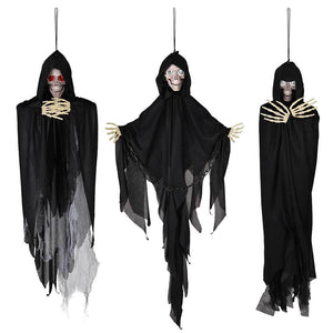 Halloween 3pcs Hanging Skeleton Eyes Light Up Sound Activated Props