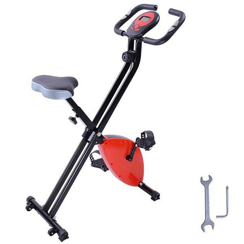 Folding Magnetic Upright Exercise Bike Fitness Cycling Red