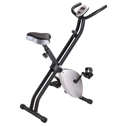 Indoor Folding Magnetic Fitness Upright Bike Gym Silver