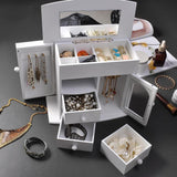 Mirrored Jewelry Box Organizer Armoire Cabinet - White