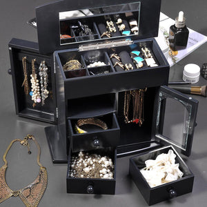 Mirrored Jewelry Box Organizer Armoire Cabinet - Black
