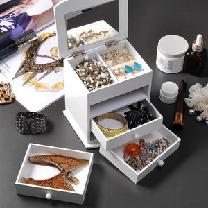Tabletop Mirrored Jewelry Box Organizer Cabinet - White