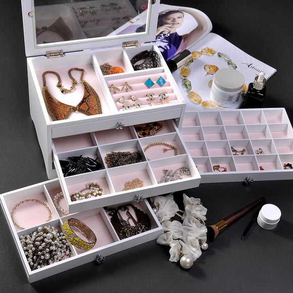 Tabletop Jewelry Box Organizer Cabinet w/ Mirror - White