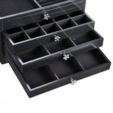 Tabletop Jewelry Box Organizer Cabinet w/ Mirror - Black