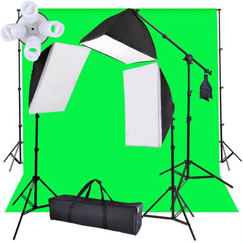 Green Backdrop Photo Soft Box Boom Lighting Kit
