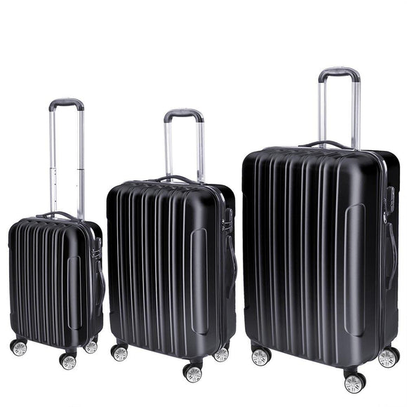 3 Pcs Four Wheeled Hardside Spinner Luggage Sets Black