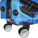 3 Pcs Four Wheeled Hardside Spinner Luggage Sets Blue