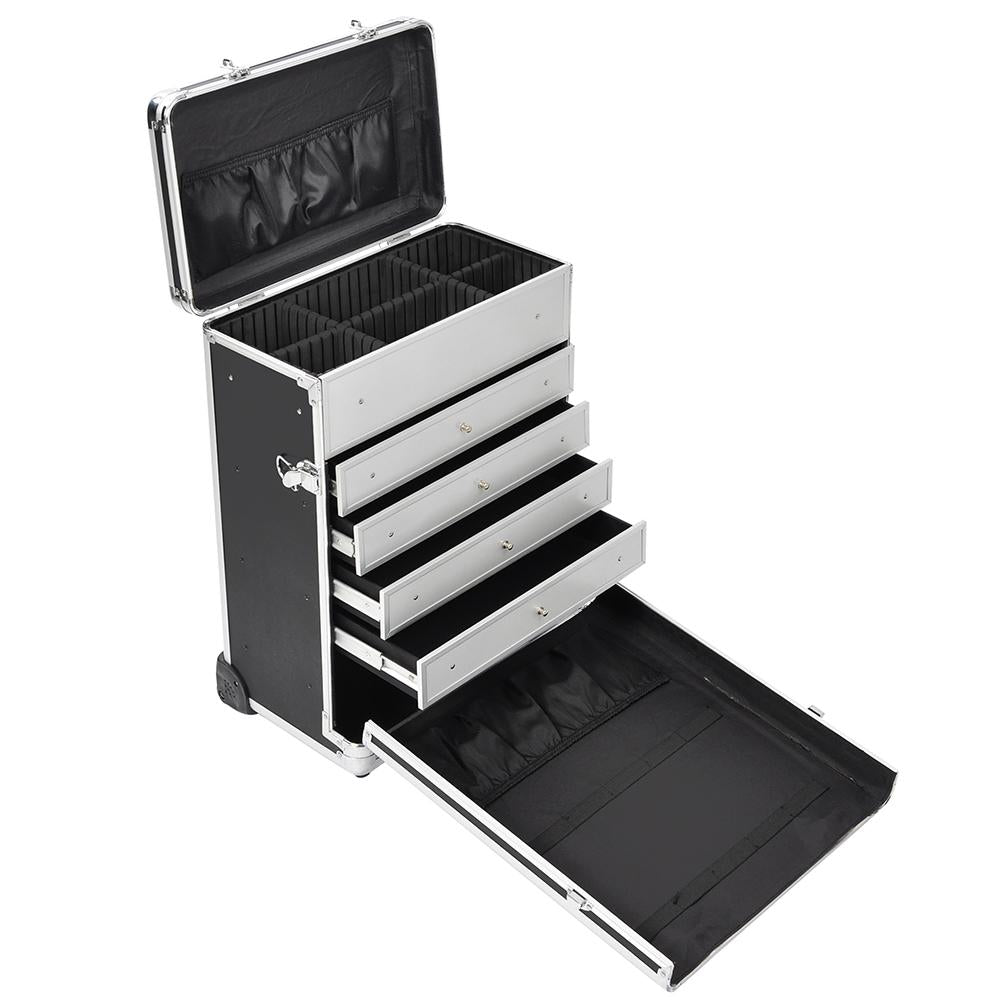 Aw 174 Black Lockable Rolling Makeup Case With Drawers The