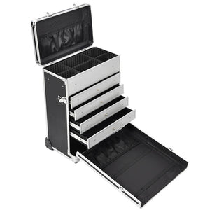 AW Black Lockable Rolling Makeup Case with Drawers