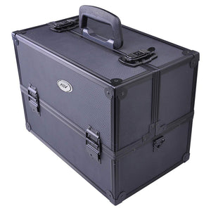 AW® Black Key-locked Makeup Train Case with Compartment