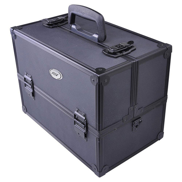 AW Black Key-locked Makeup Train Case with Compartment