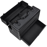 AW® Black Aluminum Key-locked Makeup Train Case with Drawer