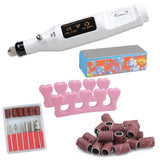 White Manicure Nail Art Drill Machine Kit w/ Bits
