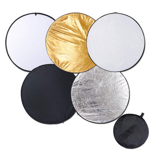 5-in-1 43in Collapsible Round Photography Lighting Reflector